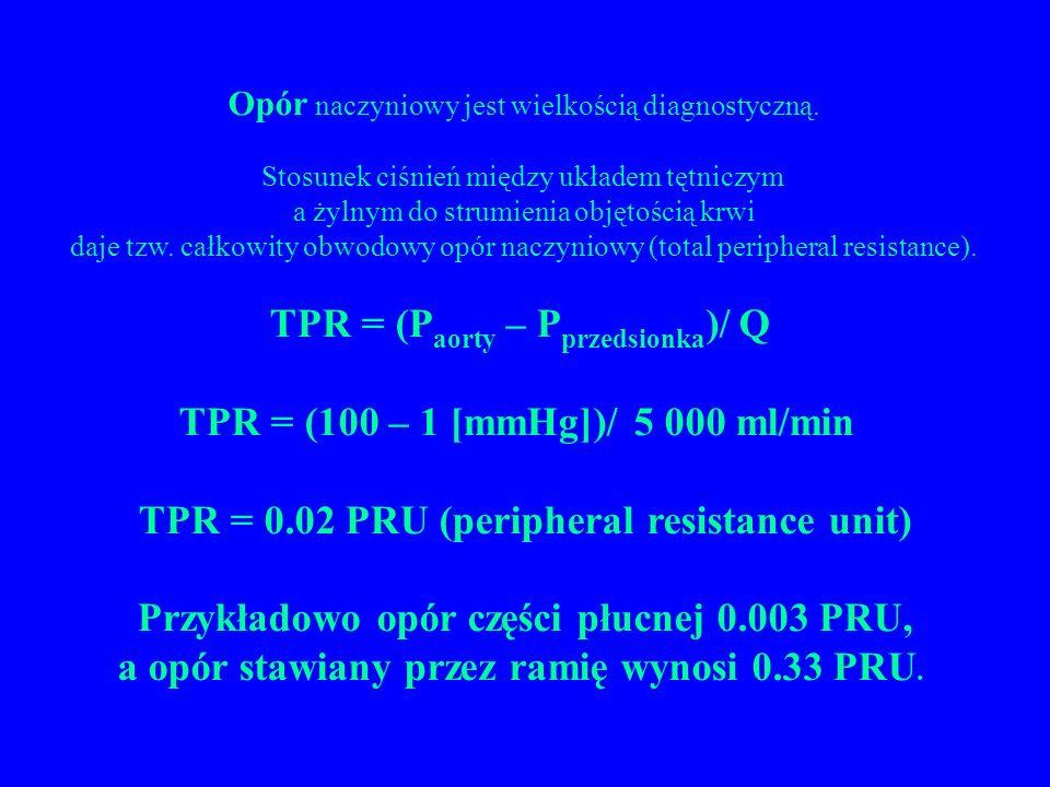TPR = (Paorty – Pprzedsionka)/ Q TPR = (100 – 1 [mmHg])/ 5 000 ml/min